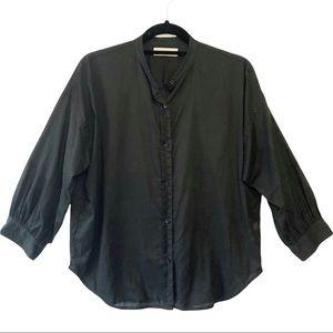 Everlane The Collarless Air Shirt Black Size 4